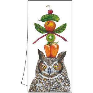 """What a HOOT "" Owl Cotton Kitchen Towel"