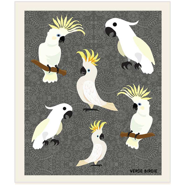Swedish Dishcloth Sponge - SIX COCKATOOS Design