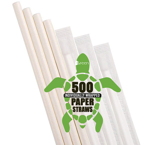 White Paper Straws Individually Wrapped [500 bulk pack]