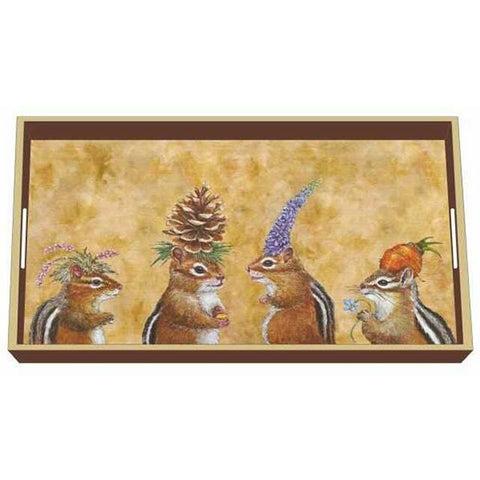 """Chipmunk Social"" Wood Lacquer Vanity Tray - Vicki Sawyer"