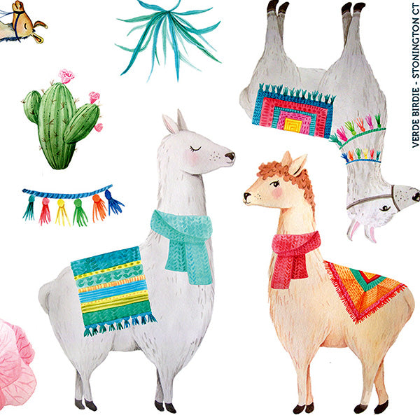 "Cute and Colorful Llama and Cactus Sticker Sheets – Two 5x7"" Sheets Totaling 20 Small Stickers"