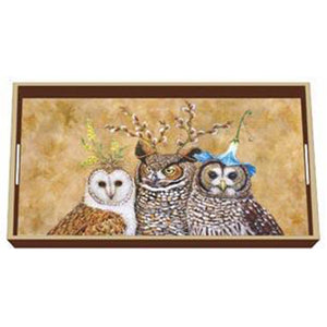 """Owl Family"" Wood Lacquer Vanity Tray - Vicki Sawyer"
