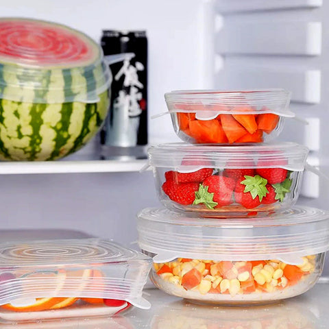 6 Pack Reusable Silicone Lids - Universal Stretch Covers & Caps for Fruit Vegetables, Cups and Bowls