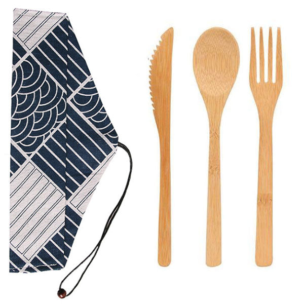 3-Piece Reusable Sturdy Bamboo Utensils (Fork, Spoon, Knife) with Cloth Carry Bag