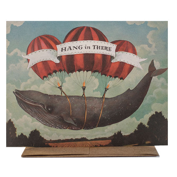 """Hang in There""  Whale - Note or Greeting Card by Elizabeth Foster"
