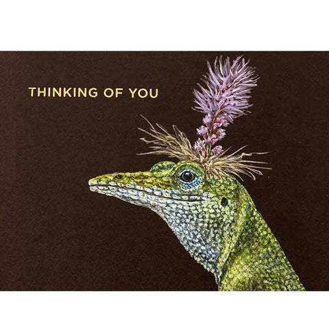 """THINKING OF YOU"" Bella Lizard - Greeting or Note Card by Vicki Sawyer"