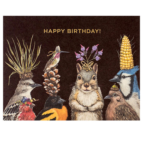Birthday Squirrel and Friends - Gold Foil - HAPPY BIRTHDAY! Greeting or Note Card by Vicki Sawyer