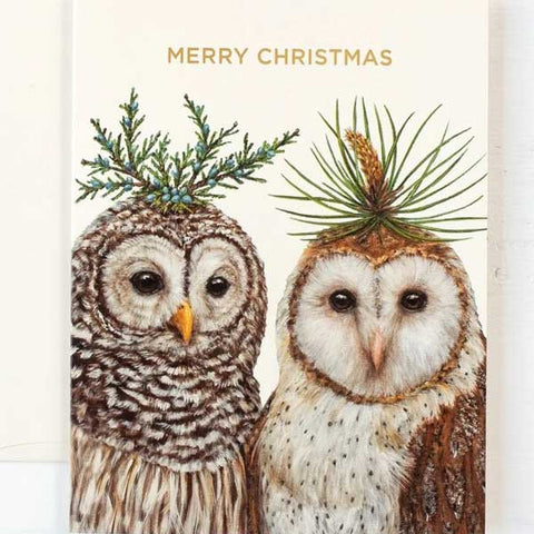 """Winter Owls"" Merry Christmas Single Note or Greeting Card"