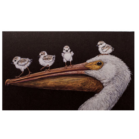 """Flight School"" - Pelican Greeting or Note Card by Vicki Sawyer"