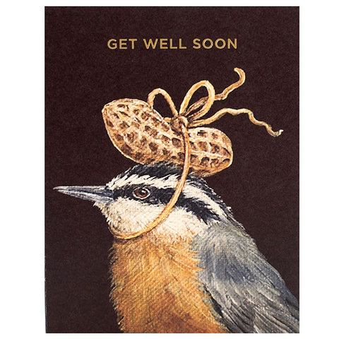 """Get Well Peanut"" - Gold Foil - ""Get Well Soon"" Greeting or Note Card by Vicki Sawyer"