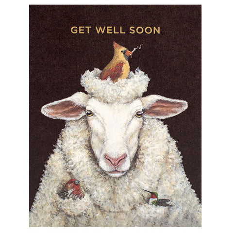 """Get Well Sheep"" - Gold Foil - ""Get Well Soon"" Greeting or Note Card by Vicki Sawyer"