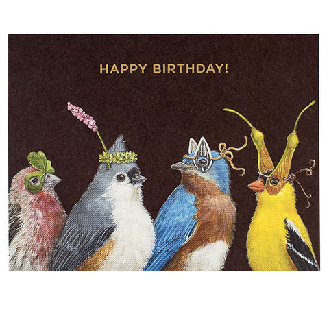 Happy Birthday Birds - Gold Foil - Happy Birthday Greeting or Note Card by Vicki Sawyer