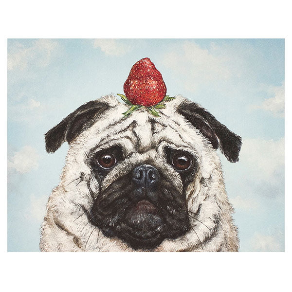 """Strawberry Pug"" - Greeting or Note Card by Vicki Sawyer"