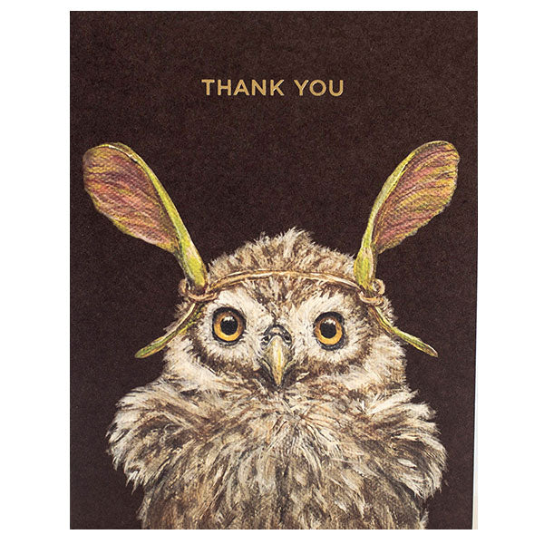"""Thank You Owl"" - Gold Foil ""Thank You"" - Greeting or Note Card by Vicki Sawyer"