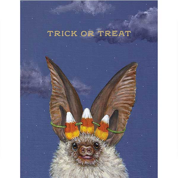 Trick or Treat Bat - Greeting or Note Card by Vicki Sawyer