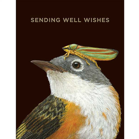 """Well Wishes Warbler"" - Greeting or Note Card by Vicki Sawyer"
