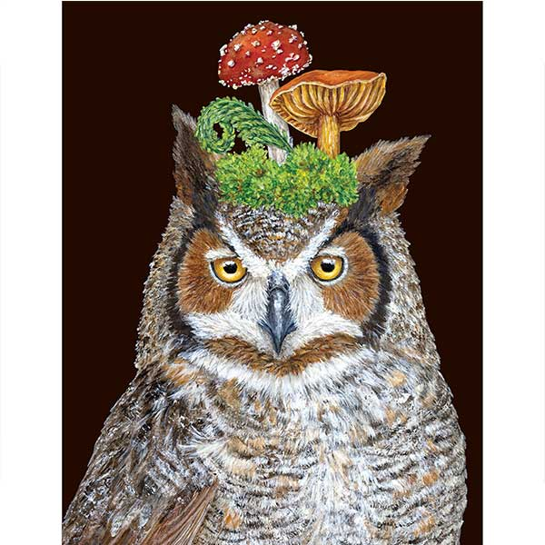 Woody the Owl - Greeting or Note Card by Vicki Sawyer