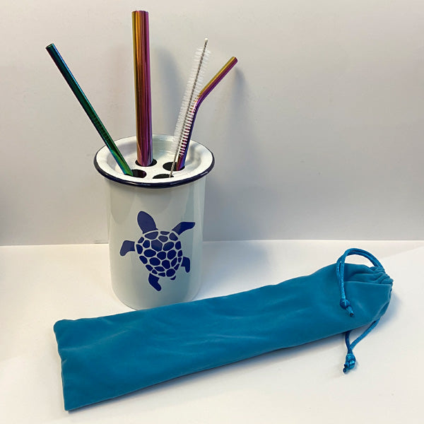 Reusable Rainbow Stainless Steel Drinking Straw 4 Piece Set With Cleaner Brush and Bag