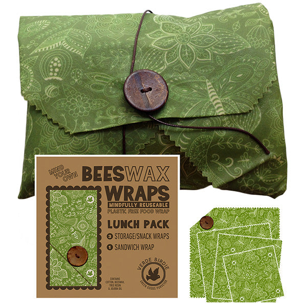 Beeswax Wraps Lunch Kit Food Storage Pack for School or Office 4 Piece Set