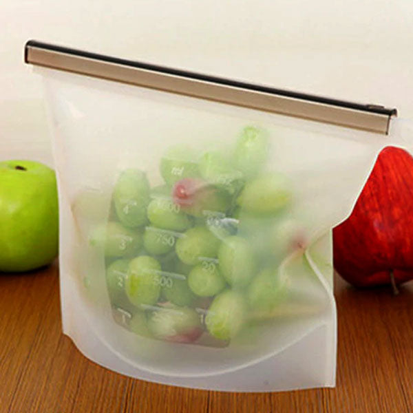Reusable Silicone Food Storage Bag With Bar, 32 oz, Dishwasher and Microwave Safe
