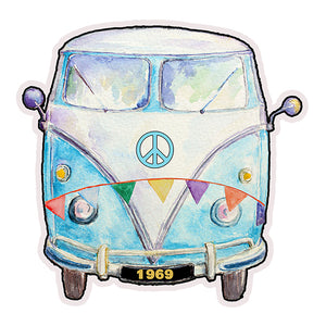 1969 Hippie Peace Van Die Cut Retro Refrigerator Magnet 3×3 Inches by Verde Birdie – 1 Piece