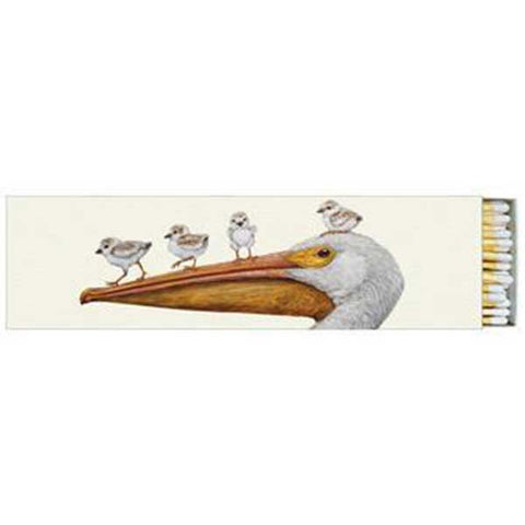 """Flight School"" Pelican and Shorebirds Gift-Boxed 40 Long Matches - Vicki Sawyer"