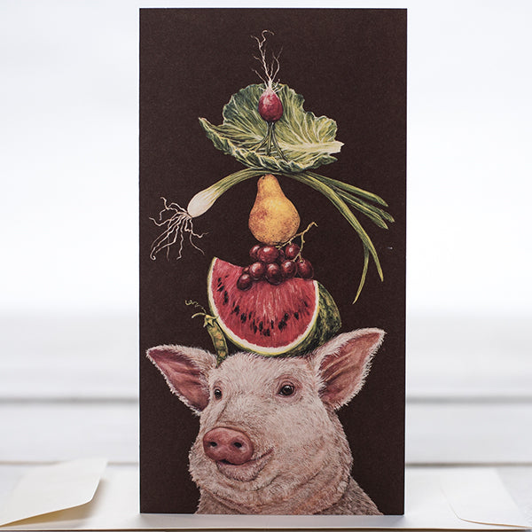 """Lulu and Her Lunch"" - Greeting or Note Card by Vicki Sawyer"
