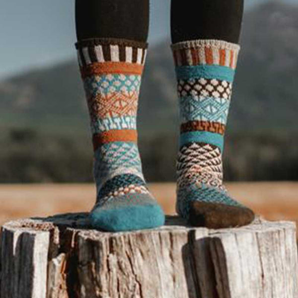 Walnut Wool Socks - Unisex Crew Socks by Solmate Socks