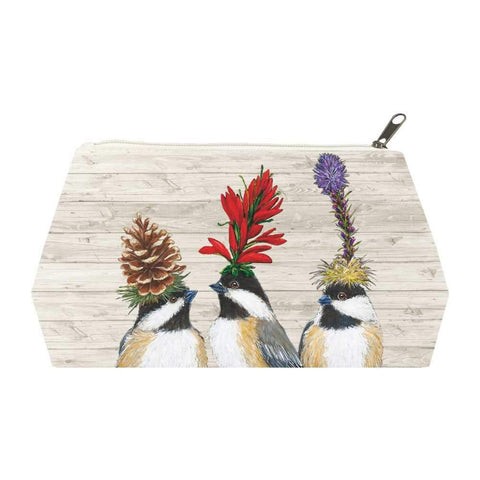 """Chickadee Sisters""  Canvas Cosmetic Bag - Vicki Sawyer"