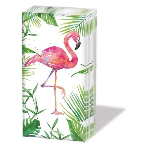 """TROPICAL FLAMINGO"" SNIFF Flamingo Bird With Palms Pocket Tissues 1-pack"