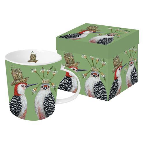 "Vicki Sawyer - ""First Date"" Woodpecker Birds Gift-Boxed Mug 13.5 oz"