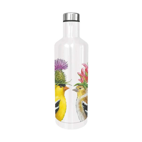"""Goldfinch Couple"" Stainless Steel Water Bottle  16.5 oz- Vicki Sawyer"