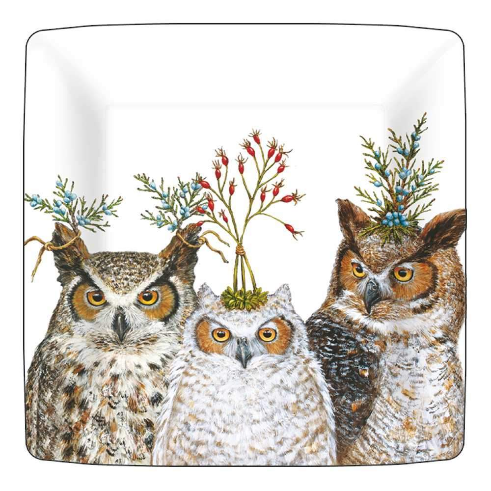 "Vicki Sawyer ""Holiday Hoot"" 7-in Appetizer or Dessert Paper Plates"