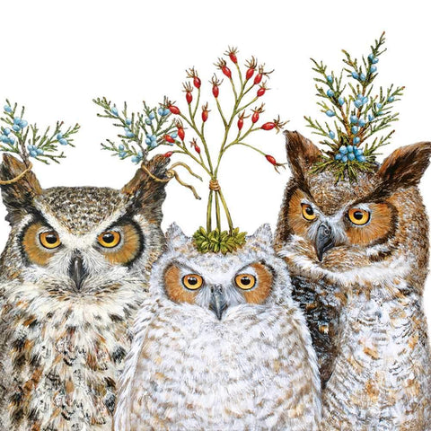 "Vicki Sawyer ""Holiday Hoot"" 5in Paper Beverage Napkins"