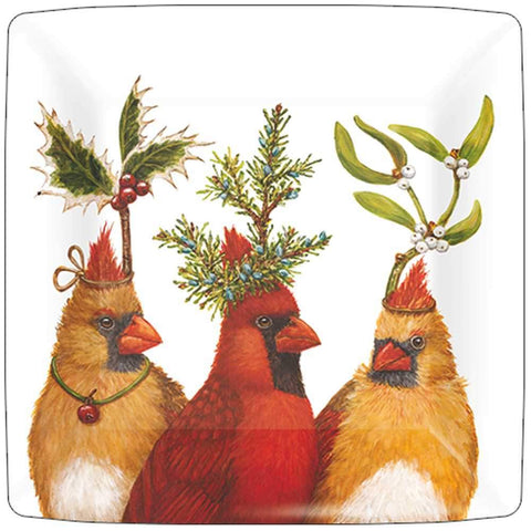 "Vicki Sawyer ""Holiday Party"" Christmas Cardinal 10-in Square Lunch or Dinner Paper Plates"