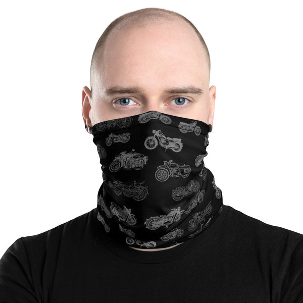 Mens Motorcycle Face Covering Neck Gaiter - One Size Unisex - Black
