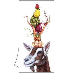 "Vicki Sawyer ""Samson & Bobby"" Goat and Bird Cotton Kitchen Towel"