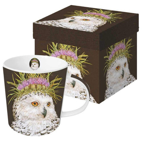 """Snow Queen"" Owl Vicki Sawyer Gift-Boxed Mug 13.5 oz"