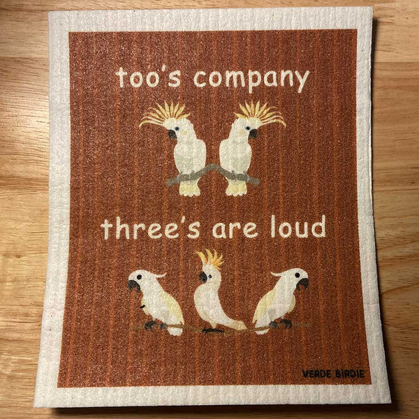 Swedish Dishcloth Sponge - Toos Company, Threes are Loud Cockatoo Design