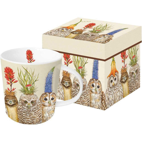 """Big Hat Night"" Owls Vicki Sawyer Gift-Boxed Mug 13.5 oz"