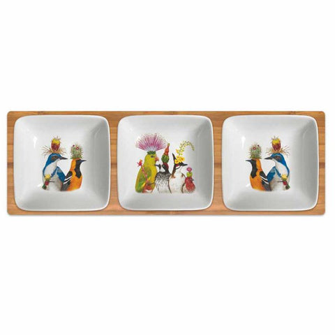 """The Entourage""  Three Dipping Dish Set  New Bone China - Vicki Sawyer"