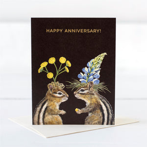 """Happy Anniversary"" Chipmunks - Gold Foil - Greeting or Note Card by Vicki Sawyer"