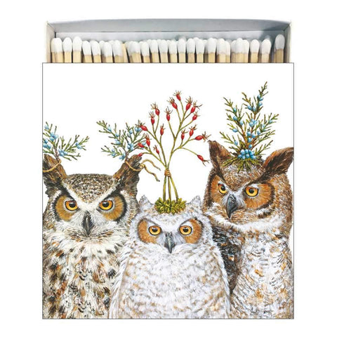 """Holiday Hoot""  Owls in a Square Gift-Boxed Matches - Vicki Sawyer"