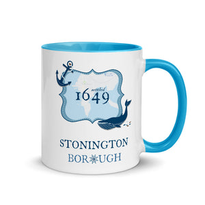 Stonington Borough CT 1649 Anchor and Whale 11 oz. Mug with Blue Color Inside