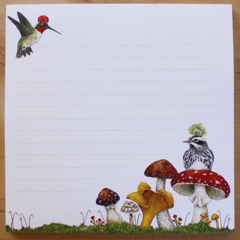 """Two Fun Guys"" Mushrooms and Birds Notepad - Vicki Sawyer"