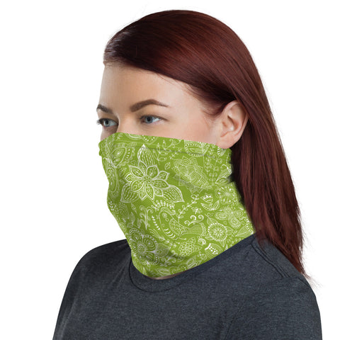 Green Eco Butterflies Flowers and Birds Doodle Neck Gaiter