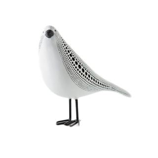 Debossed Dotted Standing Bird - White