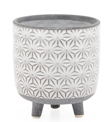 Star White Glazed Ceramic Footed Drop Pot Planter- Small