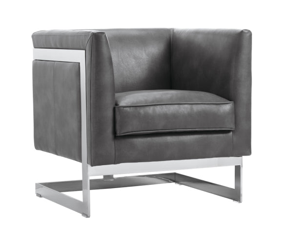 Soho Grey Nobility Leather Armchair