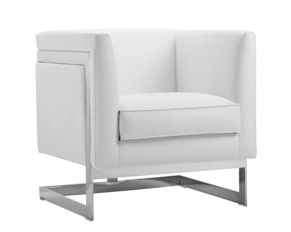 Soho Aspen White Leather Armchair